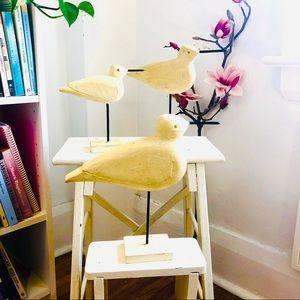 Set of vintage primitive butter cream birds